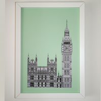 Big Ben Print in mint green, London Picture, British Art, Architectural Picture