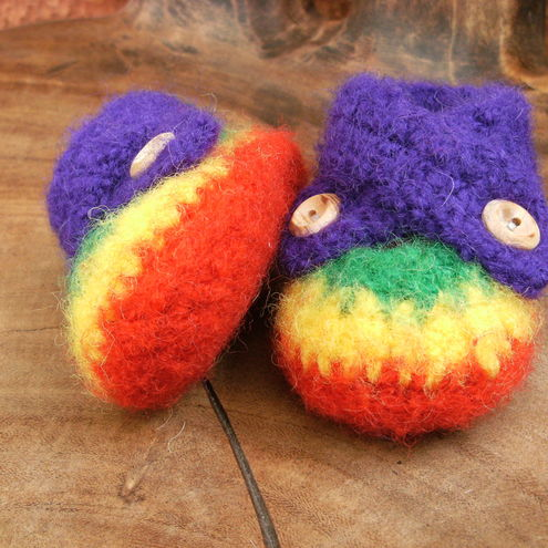 Rainbow Felted Baby Shoes