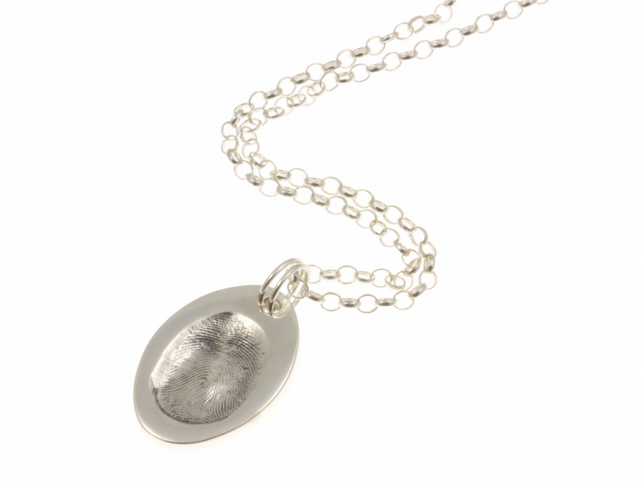 Oval Silver Fingerprint Pendant Necklace