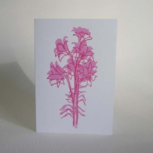 Hand screen printed card - 'Florentine Lilies' pink, magenta