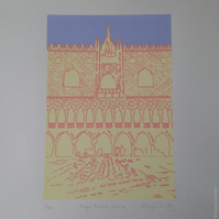 Doges Palace, Venice - limited edition original screenprint, free UK shipping