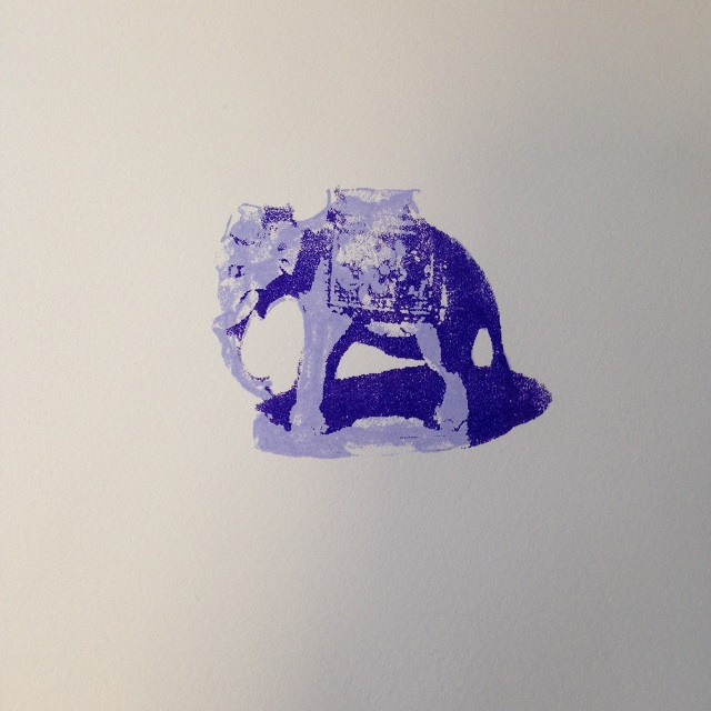 Purple Elephant, limited edition hand printed screen print