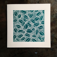 Holly linocut Christmas card Green Free UK shipping