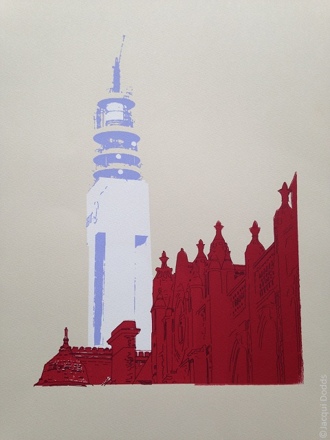 BT Tower,Birmingham, limited edition hand printed screen print