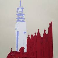 BT Tower,Birmingham, limited edition hand printed screen print, free UK shipping