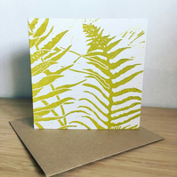 'Ferns' hand printed linocut card