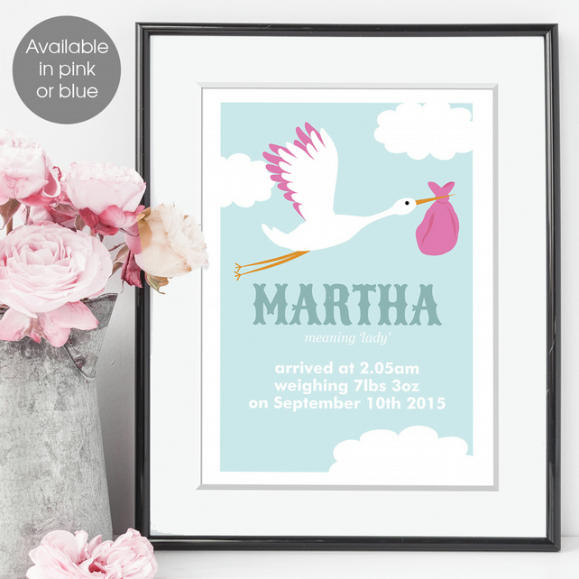 Personalised Meaning of Name Stork Print, christening gift for new baby