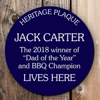 Personalised Blue Heritage plaque, bespoke wall sign for indoors or outdoors