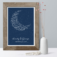 Written In The Stars Personalised Word Art Print, anniversary or wedding gift