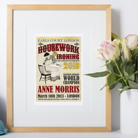 Housework Championships Vintage Art Print, personalised gift for her