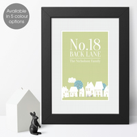 House Number Personalised Family Home Print, housewarming or wedding gift idea
