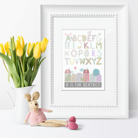 Personalised Alphabet Nursery Art Print, baby christening gift, nursery decor