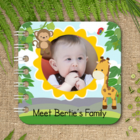 Personalised Baby Board Book, 'Jungle' design, handmade toddler baby gift