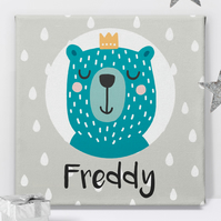 Bear Prince Personalised Canvas Nursery Art Print, baby christening gift