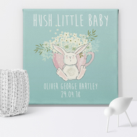 Hush Little Baby personalised canvas print, nursery print, gift for baby