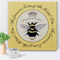 Personalised Canvas Print Bee's Knees, gift for him
