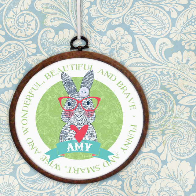 Bunny Rabbit Embroidery Hoop Print, personalised wall hanging, gift for her