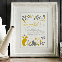 Personalised Folk Style Meaning of Name Print, christening gift for new baby