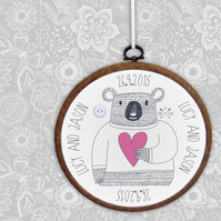 Bear Embroidery Hoop print, personalised wedding, anniversary or Valentine gift