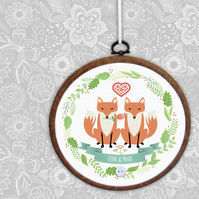Foxes Embroidery Hoop print, personalised wedding, anniversary or Valentine gift