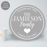 Family personalised wall sign plaque, suitable for inside and outside use