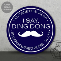 Ding Dong personalised wall sign plaque, wedding or anniversary gift idea