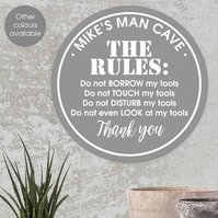 The Rules personalised wall sign, man cave, garage, shed, workshop plaque