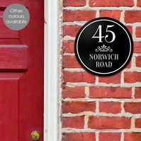 Scroll House Number Wall Sign, personalised house door name plaque