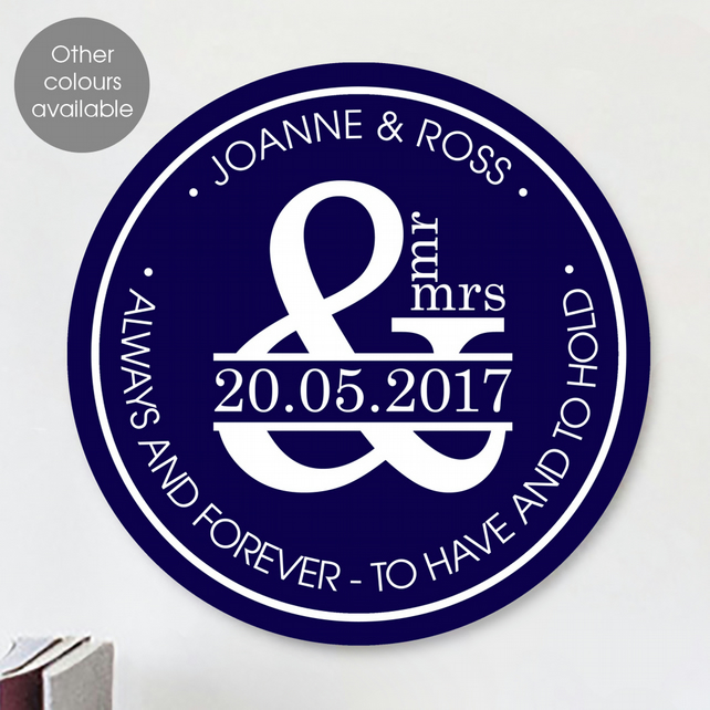 Ampersand personalised wall sign plaque, wedding or anniversary gift idea