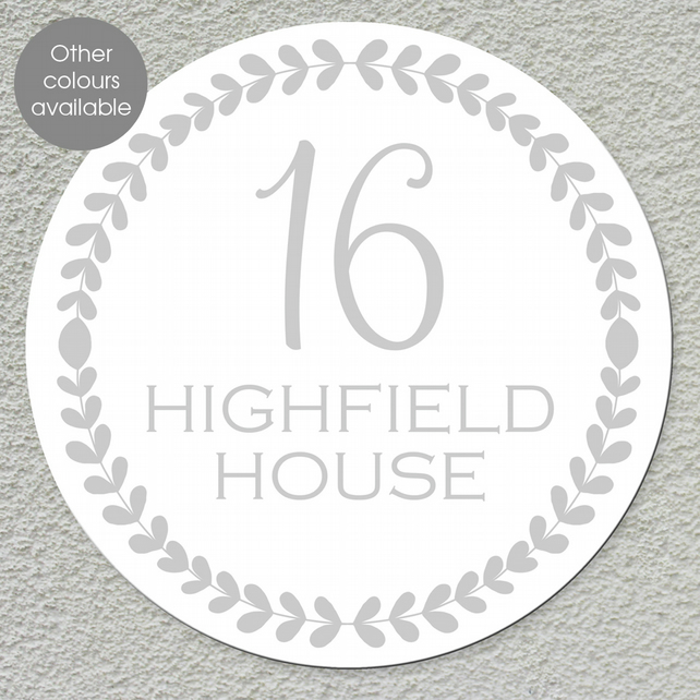 Leaf House Number Wall Sign, personalised house door name plaque