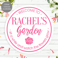 Garden Wall Sign, personalised plaque for inside or outside, gift for gardener