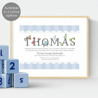 Personalised Meaning of Name Alphabet Print, christening gift for new baby