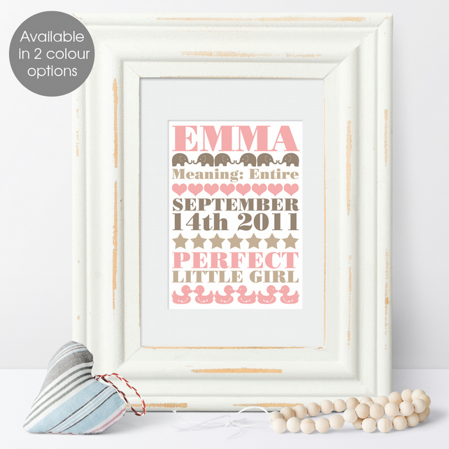 Personalised Meaning of Name Elephant Print, christening gift for new baby