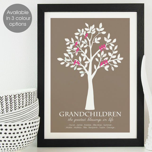 Personalised Grandparent Family Print, gift for grandad, granny, nanny