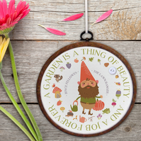 Garden Embroidery Hoop print - personalised gift idea for mum, dad or friend