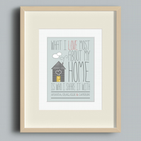 What I Love Most About My Home personalised print
