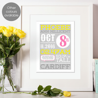 Personalised Birth Statistics Art Print, new baby or christening gift