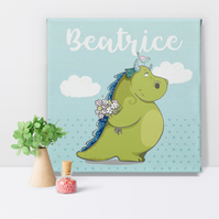 Dragon Personalised Fairytale Canvas Art Print, personalise gift for little girl
