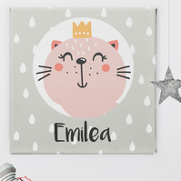 Kitten Princess Personalised Nursery Art Canvas Print, baby christening cat gift