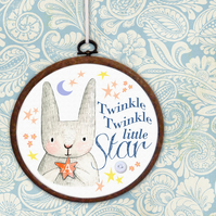Twinkle Twinkle Little Star Personalised Embroidery Hoop: baby gift, nursery art