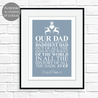 Father's Day personalised print, gift for dad or grandad