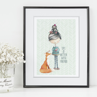 Better with Friends art print, friendship gift, girl's bedroom print