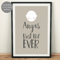 Best Kid Ever personalised 'Smiler' nursery print, christening new baby gift