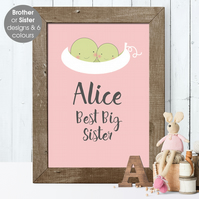 Best Big Sister or Brother, personalised 'Smiler' print, christening new baby
