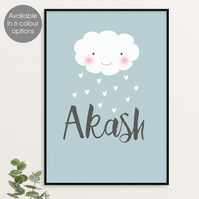 Raining Love, personalised 'Smiler' print, anniversary gift, new baby gift