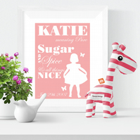 Personalised Meaning of Name Sugar and Spice Print christening gift for new baby