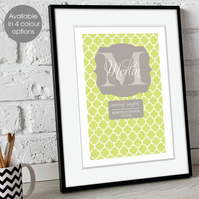 Personalised Meaning of Name Preppy Monogram Print, christening new baby gift