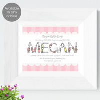 Personalised Meaning of Name Bunny Print, christening gift for new baby