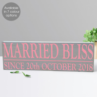 Married Bliss, personalised wooden block sign, wedding gift