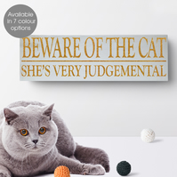 Beware of the Cat, personalised wooden block sign, funny gift idea